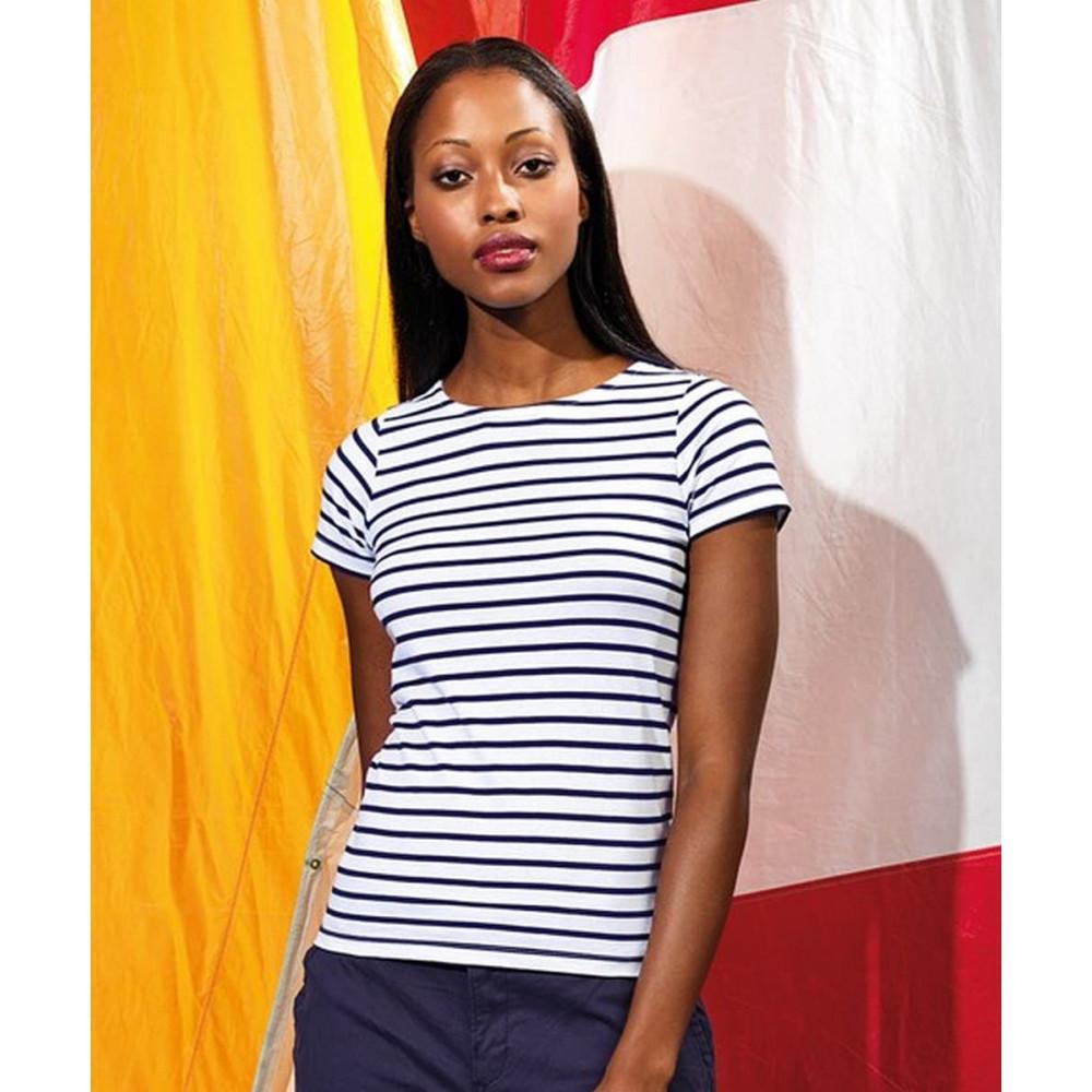 CYRENZO - T-shirt marinière coastal femme à manches courtes - ASQUITH & FOX - (T shirts, Débardeurs, Polos femme)