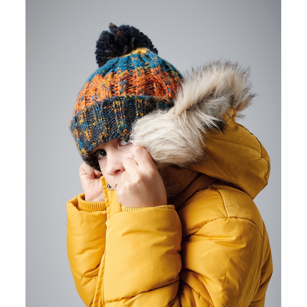 CYRENZO - Bonnet beanie corkscrew à pompon pour enfant - BEECHFIELD - (Bonnets Tendance et original)