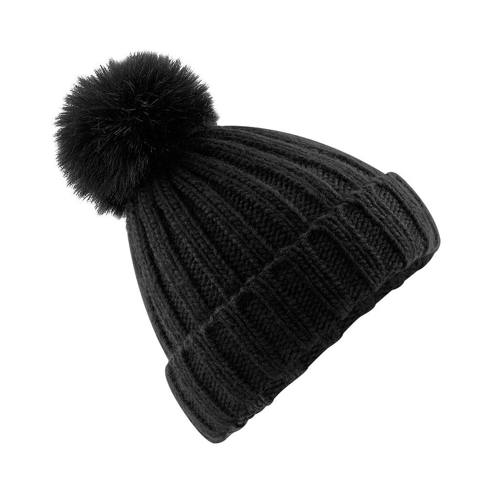 CYRENZO - Bonnet à pompon en maille épaisse et fourrure Verbier - BEECHFIELD - (Bonnets Tendance et original)