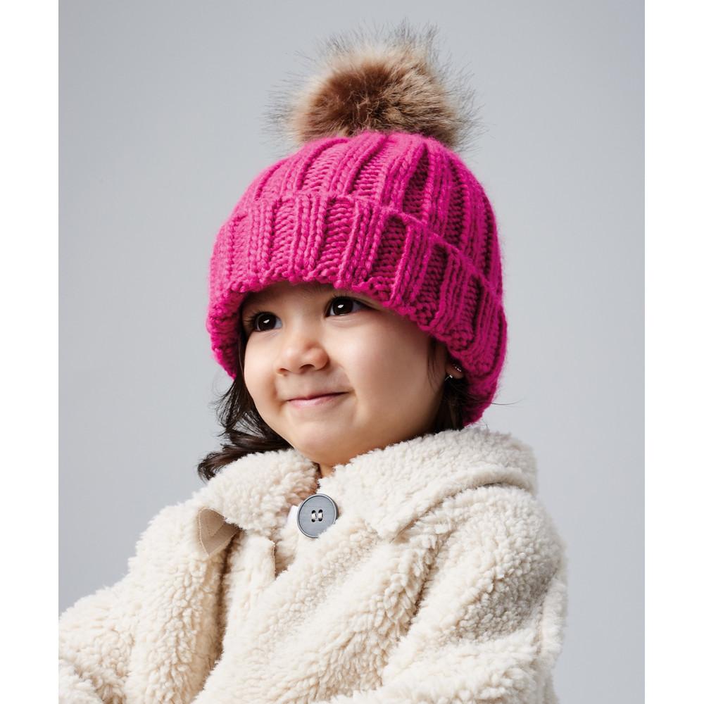 Bonnet en grosse maille pompon en fourrure pour bébé et enfant